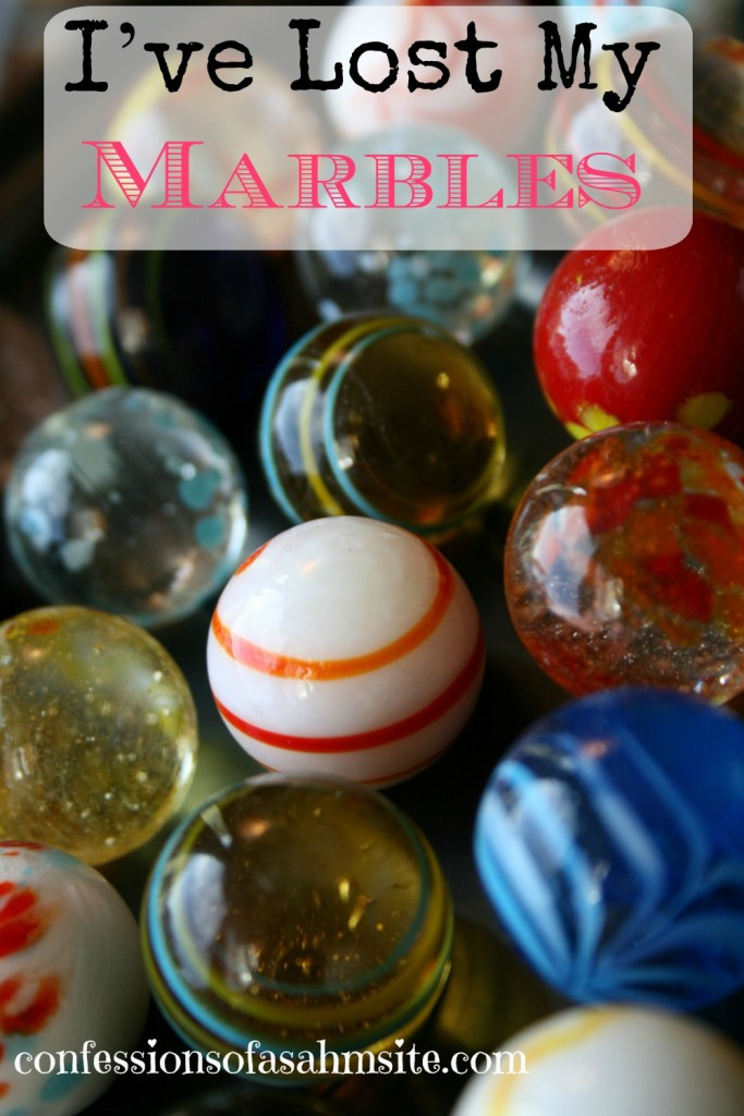I've Lost my marbles. This sounds so familiar from when I started out as being a SAHM. Enjoyed reading this article about transitioning from working out of the home to being a SAHM.