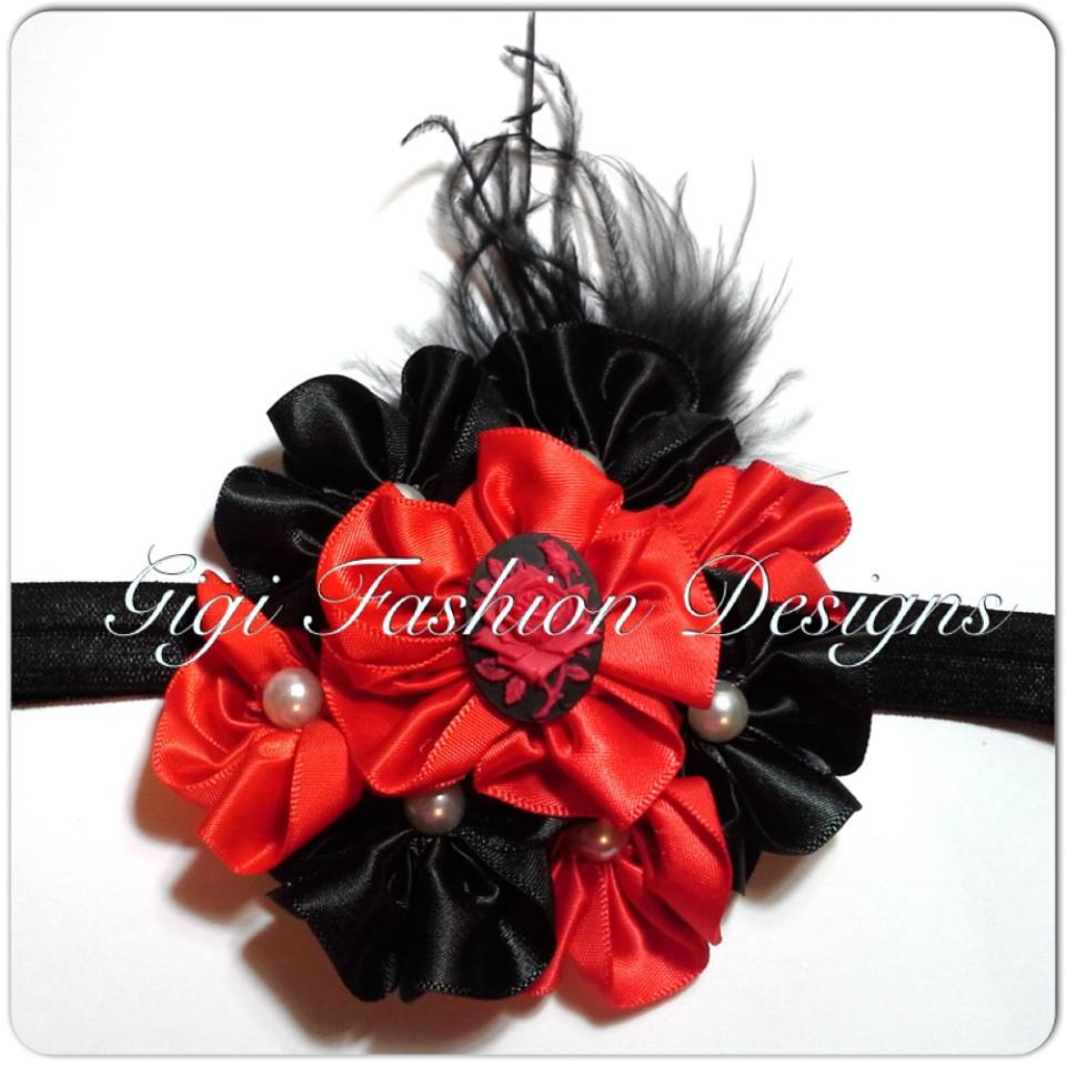Black red headband